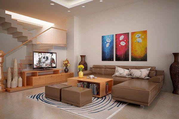 Màu sơn trắng kết hợp với ghế sofa màu nâu