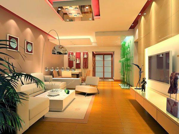 Nội thất phòng khách màu vàng ấm nổi bật