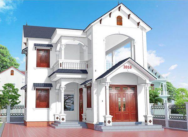 Sơn nhà màu trắng đẹp kết hợp với cửa gỗ màu nâu
