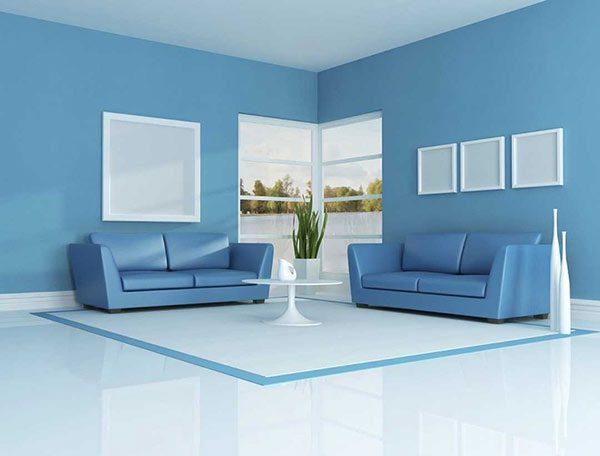 Màu xanh dương cho phòng khách gia chủ mệnh mộc