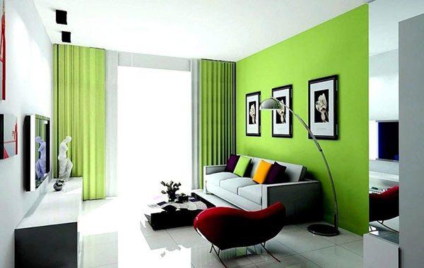 Phòng khách màu xanh cho gia chủ mệnh mộc