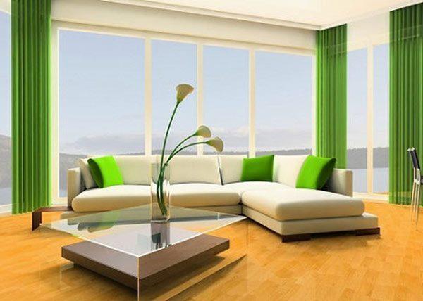 trang trí nội thất bằng màu trắng và xanh